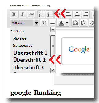 Text-Auszeichnung+Struktur mit WordPress