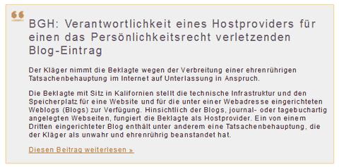 Quelle: Kanzlei-Exner.de - BGH Host-Provider soll für Blog-Eintrag haften