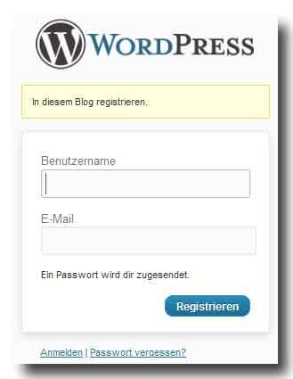 WordPress Registrierung, Schritte 2 + 3