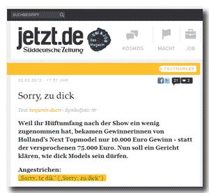 jetzt.de+SZ mit: Sorry, zu dick!